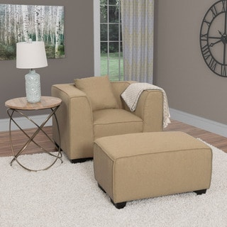 CorLiving Lida 2pc Fabric Chair and Ottoman Set