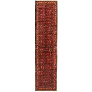 Herat Oriental Persian Hand-knotted Tribal Hamadan Wool Runner (4' x 13'10)