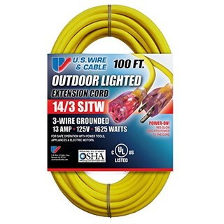 Yellow SJTW 13A Lighted Cord Set