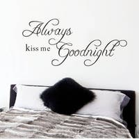 Always Kiss Me Goodnight Removable Vinyl Wall Decal Sticker
