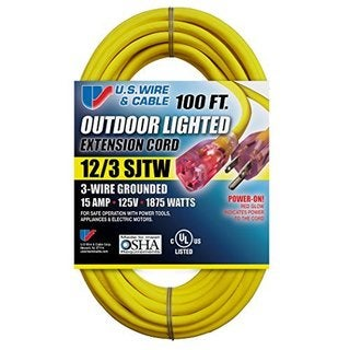 Yellow SJTW 15A Lighted Cord Set