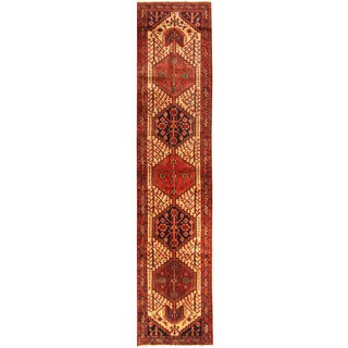 Herat Oriental Persian Hand-knotted Tribal Hamadan Wool Runner (3' x 13'4)