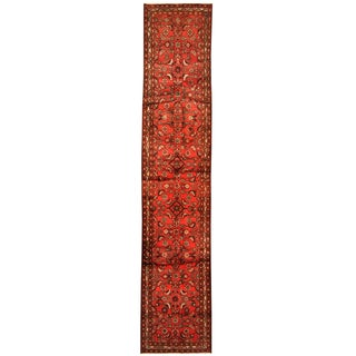 Herat Oriental Persian Hand-knotted Tribal Hamadan Wool Runner (2'10 x 14')