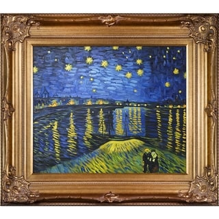 Vincent Van Gogh 'Starry Night Over the Rhone (Luxury Line)' Hand Painted Framed Oil Reproduction on Canvas