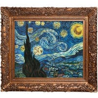 Vincent Van Gogh 'Starry Night (Luxury Line)' Hand Painted Framed Oil Reproduction on Canvas