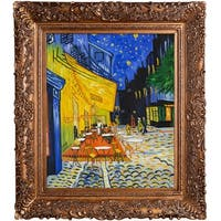 Vincent Van Gogh 'Cafe Terrace at Night (Luxury Line)' Hand Painted Framed Oil Reproduction on Canvas