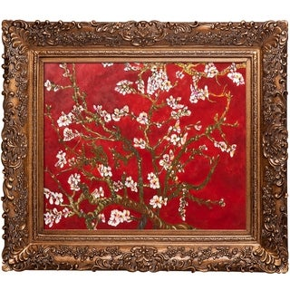 Vincent Van Gogh 'Branches of an Almond Tree in Blossom, Ruby Red (Luxury Line)' Hand Painted Framed Oil Reproduction on Canvas