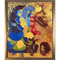 Odilon Redon 'Woman Among the Flowers, 1910 (Luxury Line)' Hand Painted Framed Oil Reproduction on Canvas