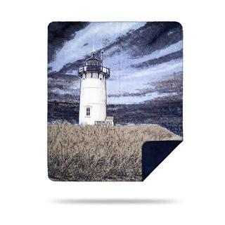 Denali Lighthouse Print/ Navy Blue Throw (60 x 70)