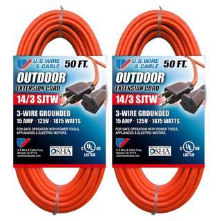 US Wire 14/3 50-Foot SJTW Orange Medium Duty Extension Cord (Pack of 2)