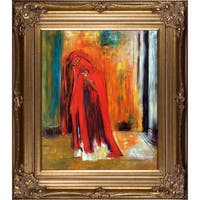 Odilon Redon 'Woman in Red' Hand Painted Framed Oil Reproduction on Canvas