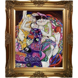 Gustav Klimt 'The Virgin (Luxury Line)' Hand Painted Framed Oil Reproduction on Canvas