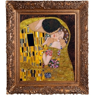 Gustav Klimt 'The Kiss (Luxury Line)' Hand Painted Framed Oil Reproduction on Canvas