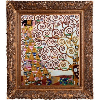Gustav Klimt 'Expectation (Luxury Line)' Hand Painted Framed Oil Reproduction on Canvas