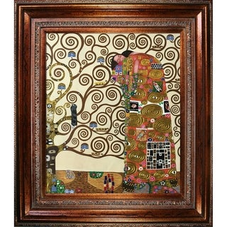 Gustav Klimt 'Fulfillment - The Embrace (Luxury Line)' Hand Painted Framed Oil Reproduction on Canvas
