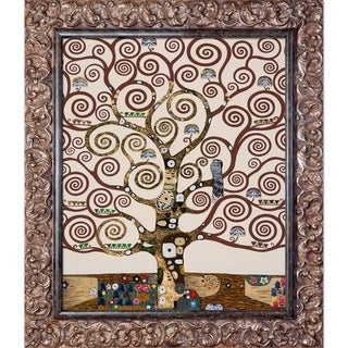 Gustav Klimt 'Tree of Life (Luxury Line)' Hand Painted Framed Oil Reproduction on Canvas