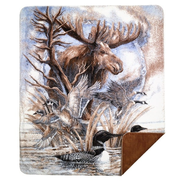 Denali Moose Print/ Spice Brown Throw (60 x 70)