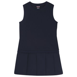 French Toast Girls' Navy Blue Polyester/Spandex Knit to Woven Dress