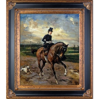 Giovanni Boldini 'The Amazon with Puppy' Hand Painted Framed Oil Reproduction on Canvas