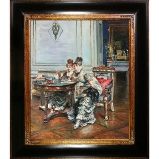 Giovanni Boldini 'Confidences' Hand Painted Framed Oil Reproduction on Canvas