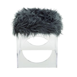 Benzara Comfortable Acrylic Grey Fur Stool