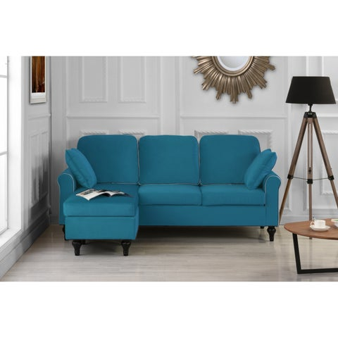 Traditional Small Space Velvet Sectional Sofa with Reversible Chaise