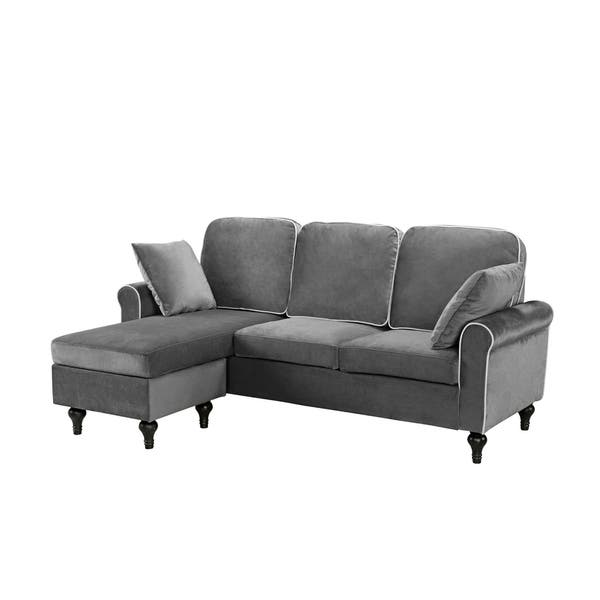 Incredible Shop Traditional Small Space Velvet Sectional Sofa With Andrewgaddart Wooden Chair Designs For Living Room Andrewgaddartcom
