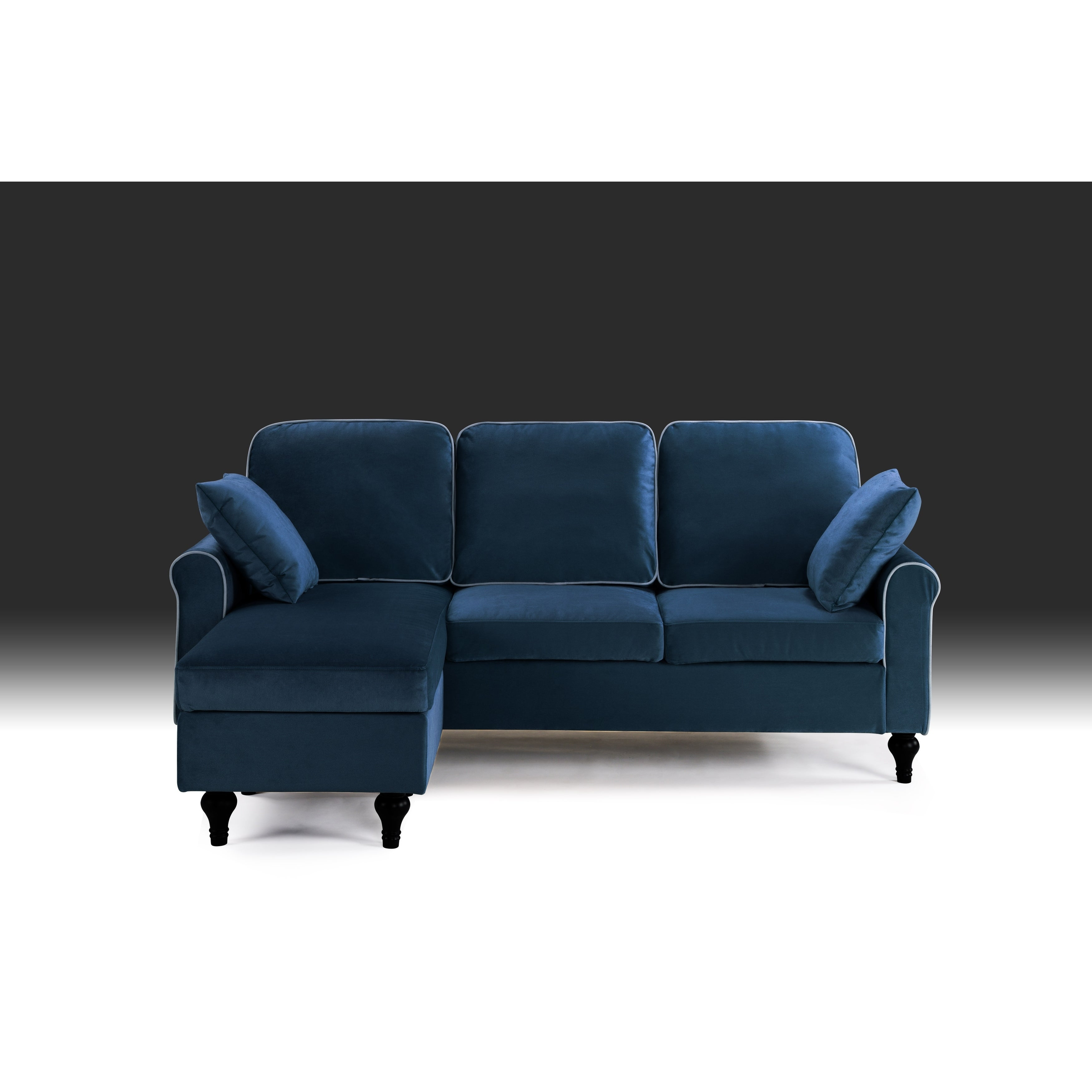 Astonishing Traditional Small Space Velvet Sectional Sofa With Reversible Chaise Machost Co Dining Chair Design Ideas Machostcouk