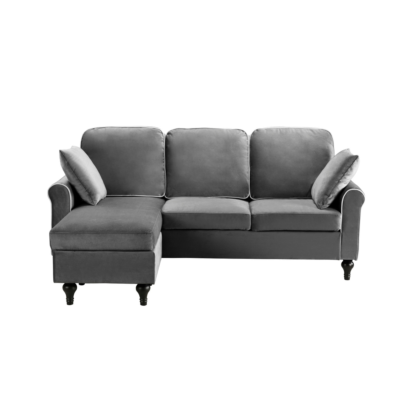 Shop Black Friday Deals On Traditional Small Space Velvet Sectional Sofa With Reversible Chaise Overstock 13190443 Brown