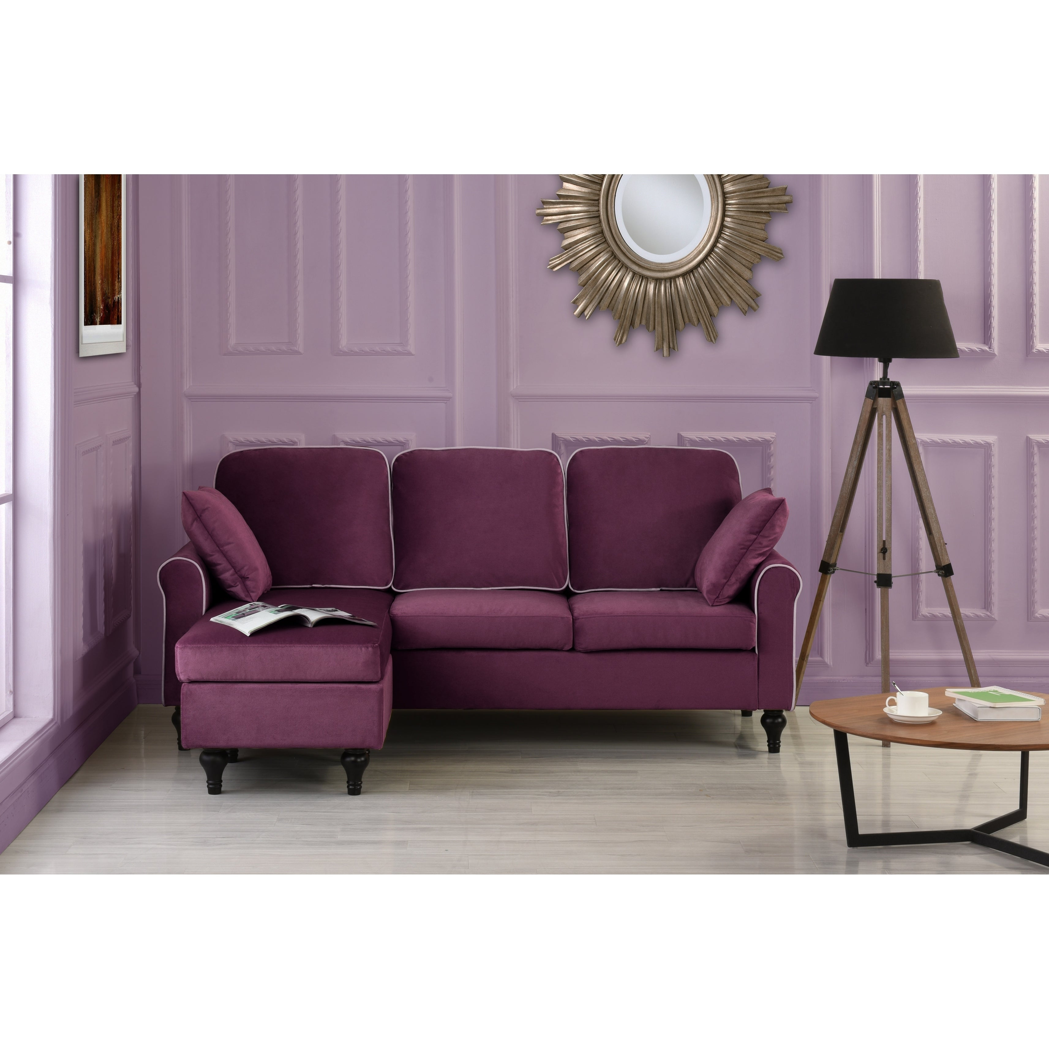 Picture of: Traditional Small Space Velvet Sectional Sofa With Reversible Chaise On Sale Overstock 13190443 Brown
