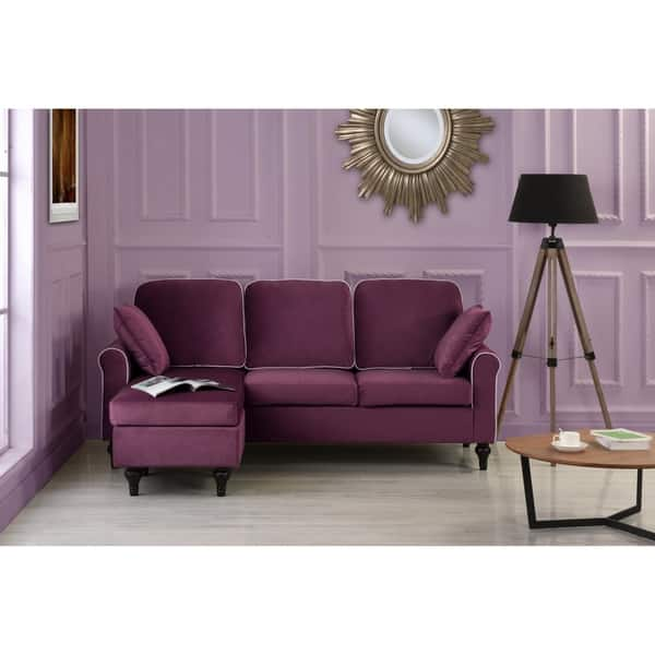 Brilliant Shop Traditional Small Space Velvet Sectional Sofa With Pabps2019 Chair Design Images Pabps2019Com