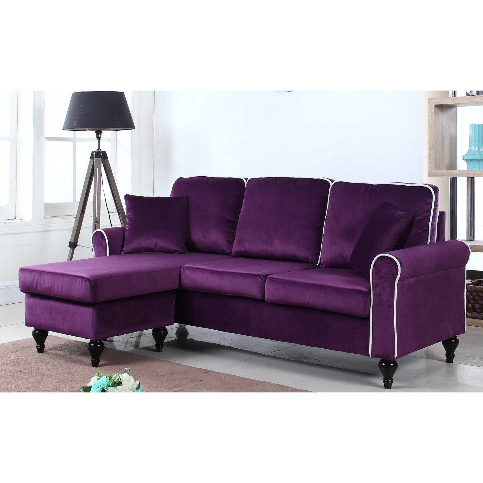 Attrayant Traditional Small Space Velvet Sectional Sofa With Reversible Chaise