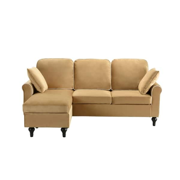 Stupendous Shop Traditional Small Space Velvet Sectional Sofa With Lamtechconsult Wood Chair Design Ideas Lamtechconsultcom