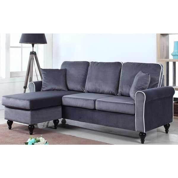 Shop Traditional Small Space Velvet Sectional Sofa With