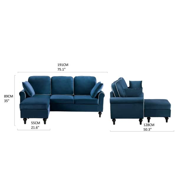 Sensational Shop Traditional Small Space Velvet Sectional Sofa With Onthecornerstone Fun Painted Chair Ideas Images Onthecornerstoneorg