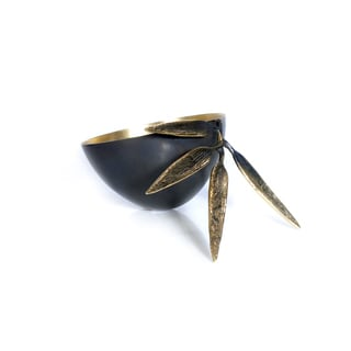 Brunei Goldtone Brass Bamboo Leaf Crutch Bowl