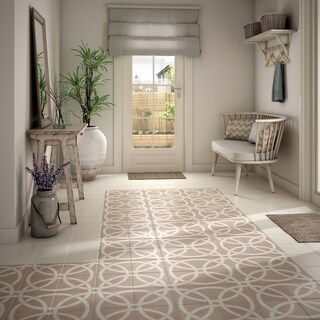 SomerTile 7.875x7.875-inch Piccola Pastel Loop Porcelain Floor and Wall Tile (25/Case, 11.46 sqft.)