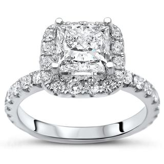 Noori 14k White Gold 1 4/5ct TDW Princess-cut Diamond Enhanced Engagement Ring
