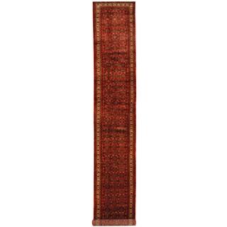 Herat Oriental Persian Hand-knotted Tribal Hamadan Wool Runner (2'8 x 16'8)