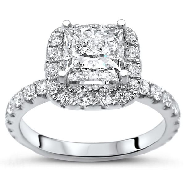 Certified Noori 14k White Gold 1 4/5ct TDW Princess-cut Diamond Engagement Ring