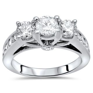Certified Noori 14k White Gold 1 1/2ct TDW Round Diamond 3-stone Engagement Ring
