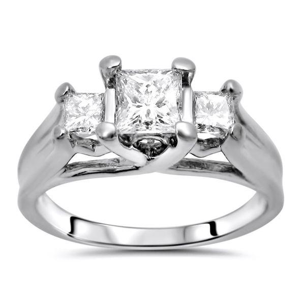 Certified Noori 14k White Gold 1ct TDW Princess Diamond 3-stone Engagement Ring