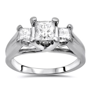 Noori 14k White Gold 1ct TDW Princess Diamond 3-stone Engagement Ring