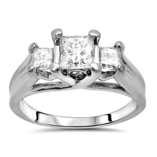 Certified Noori 14k White Gold 1ct TDW Princess Diamond 3-stone Engagement Ring