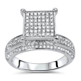 Noori 10k White Gold 1ct TDW Round Diamond Engagement Ring (I-J, I2-I3)