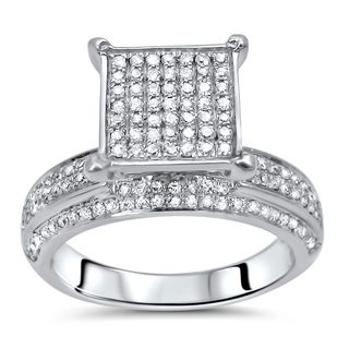 Noori 10k White Gold 1ct TDW Round Diamond Engagement Ring