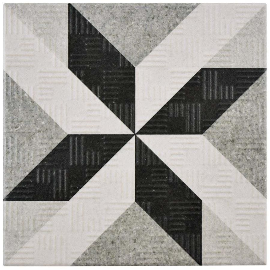 Somertile 6x6-inch Zona Star Grey Porcelain Floor and Wal...