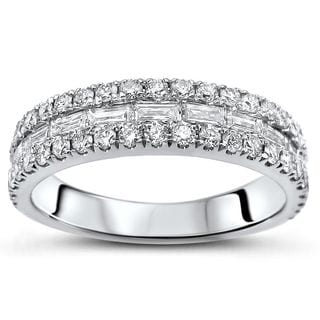 Noori 18k White Gold 5/6ct TDW Baguette-cut Diamond Wedding Band Ring
