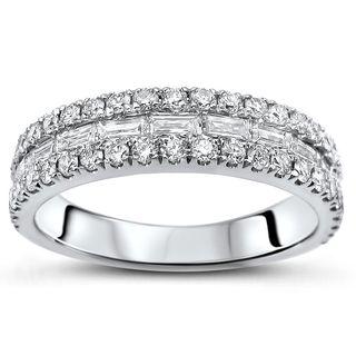 Noori 18k White Gold 5/6ct TDW Baguette-cut Diamond Wedding Band Ring