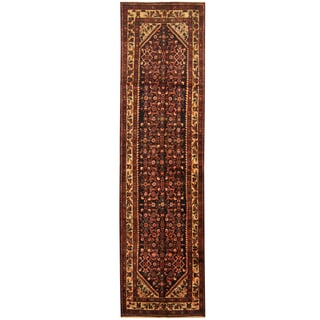 Herat Oriental Persian Hand-knotted Tribal Hamadan Wool Runner (3'5 x 12'7)